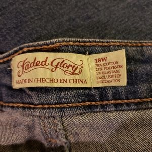 Faded Glory Jeans - 2 pr Faded Glory distressed patch blue Jean's 18W